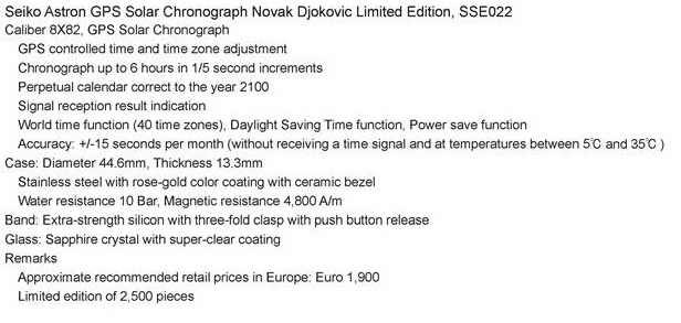 Astron GPS Solar Novak Djokovic Limited Edition, Astron Novak Djokovic, Seiko SSE022