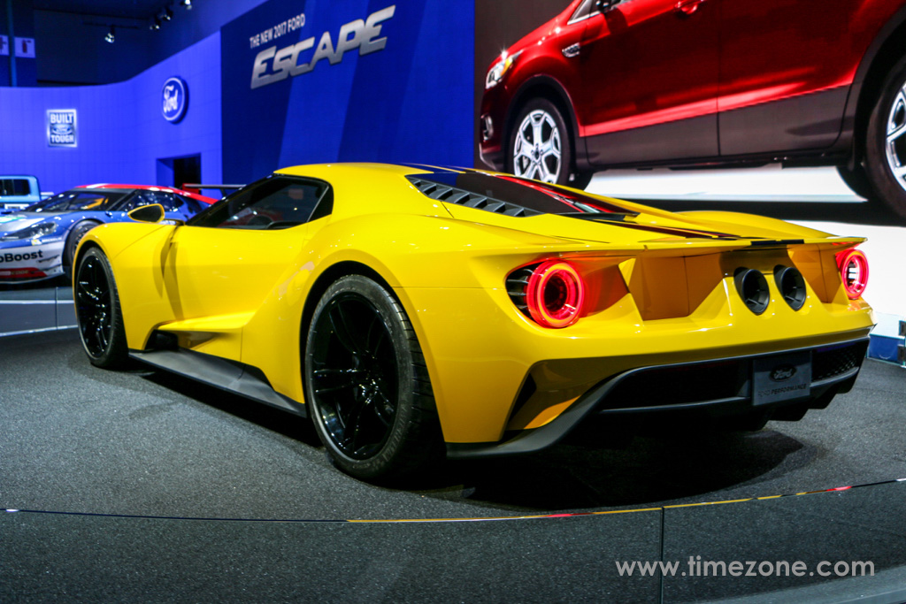 Ford GT, Ford GT LA Auto Show, Ford GT yellow stripes, Ford GT Yellow black racing stripes