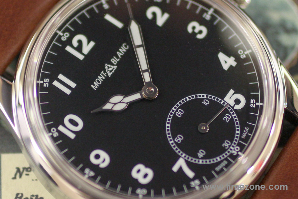 Montblanc 1858 Small Second dial, Montblanc 1858 Small Second review, Montblanc 1858 Small Seconds review, Montblanc Pilot watch, Montblanc 1858 Small Seconds, Montblanc 112638, Caliber MB 23.03, Montblanc Minerva review, Montblanc Villeret review, Montblanc watch review