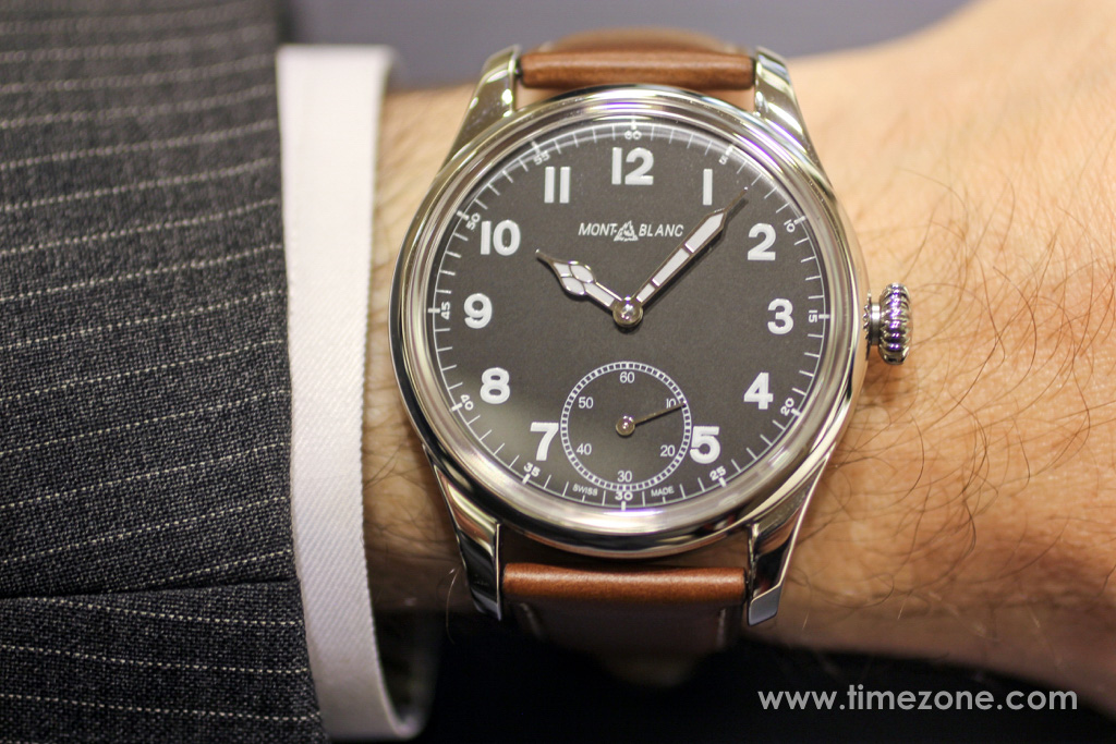 Montblanc 1858 Small Second wrist shot, Montblanc 1858 Small Second review, Montblanc 1858 Small Seconds review, Montblanc Pilot watch, Montblanc 1858 Small Seconds, Montblanc 112638, Caliber MB 23.03, Minerva caliber 49, Montblanc Unitas, Montblanc Minerva review, Montblanc Villeret review, Montblanc watch review