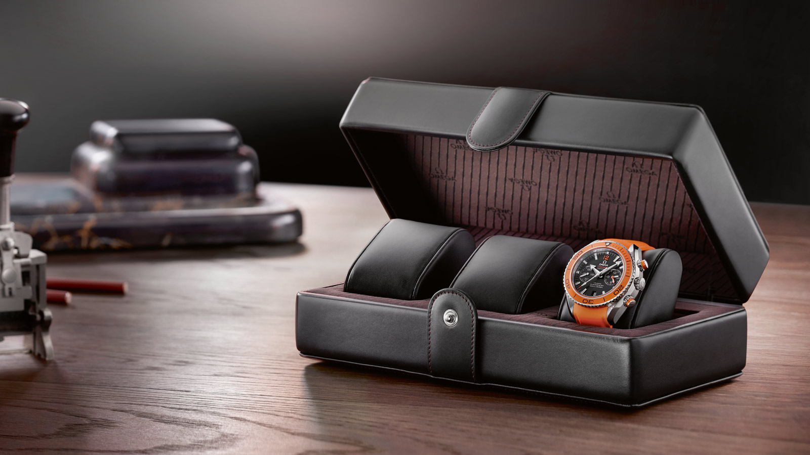 Omega fine leather watch box, Omega accessories, Omega fine leather goods