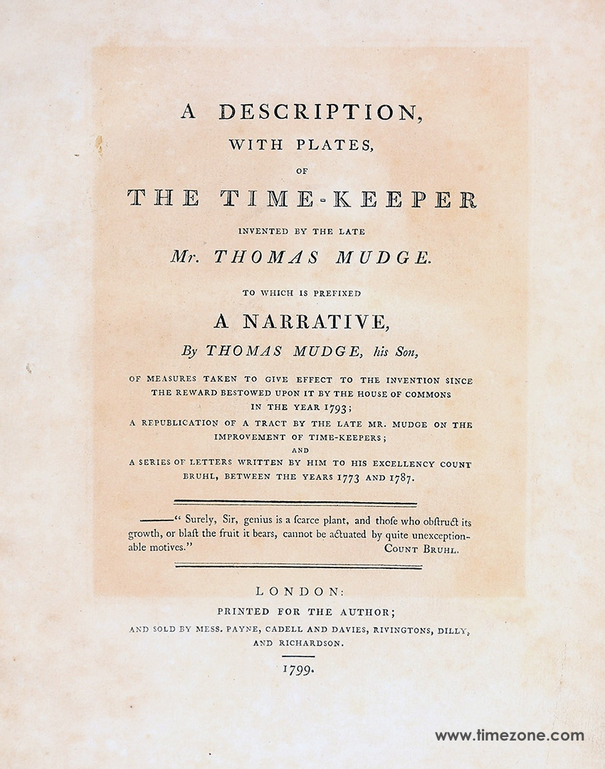 A description, with plates, of the time-keeper invented by the late Mr. Thomas Mudge