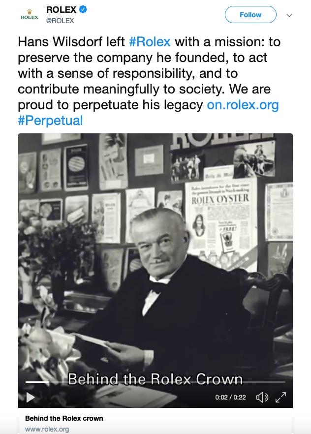 Rolex Twitter, Rolex tweet, Rolex Awards, Rolex philanthropy