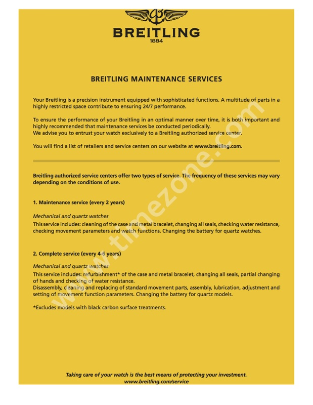 TimeZone : Breitling » Breitling U S  Pricing Guide for Maintenance