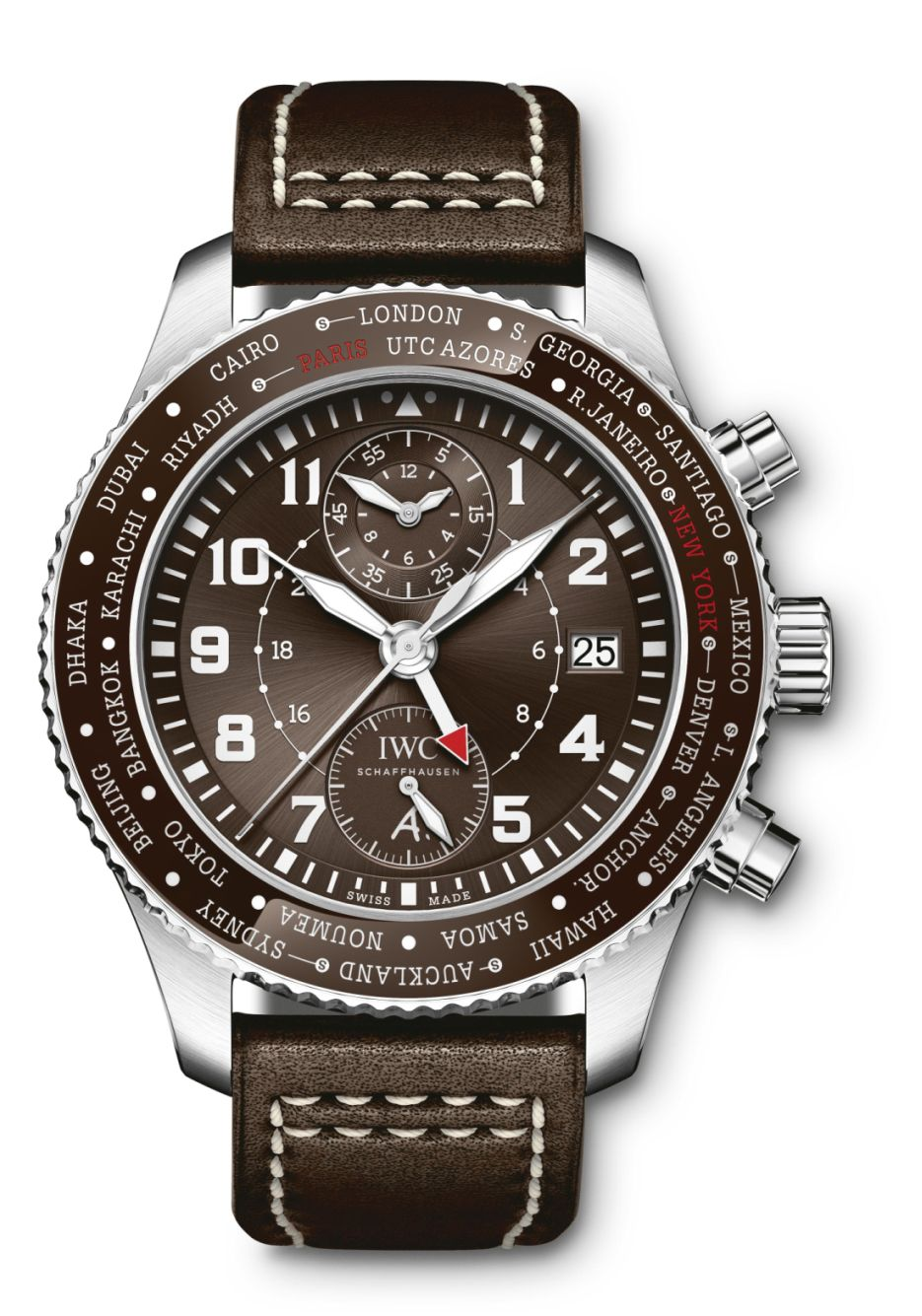 IWC Pilot Timezoner Chronograph Edition 80 Years Flight to New York, IWC Pilot Timezoner Chronograph, IWC Pilot Timezoner Brown, IWC Timezoner, IWC Timezoner Brown, IWC IW395003, IW395003