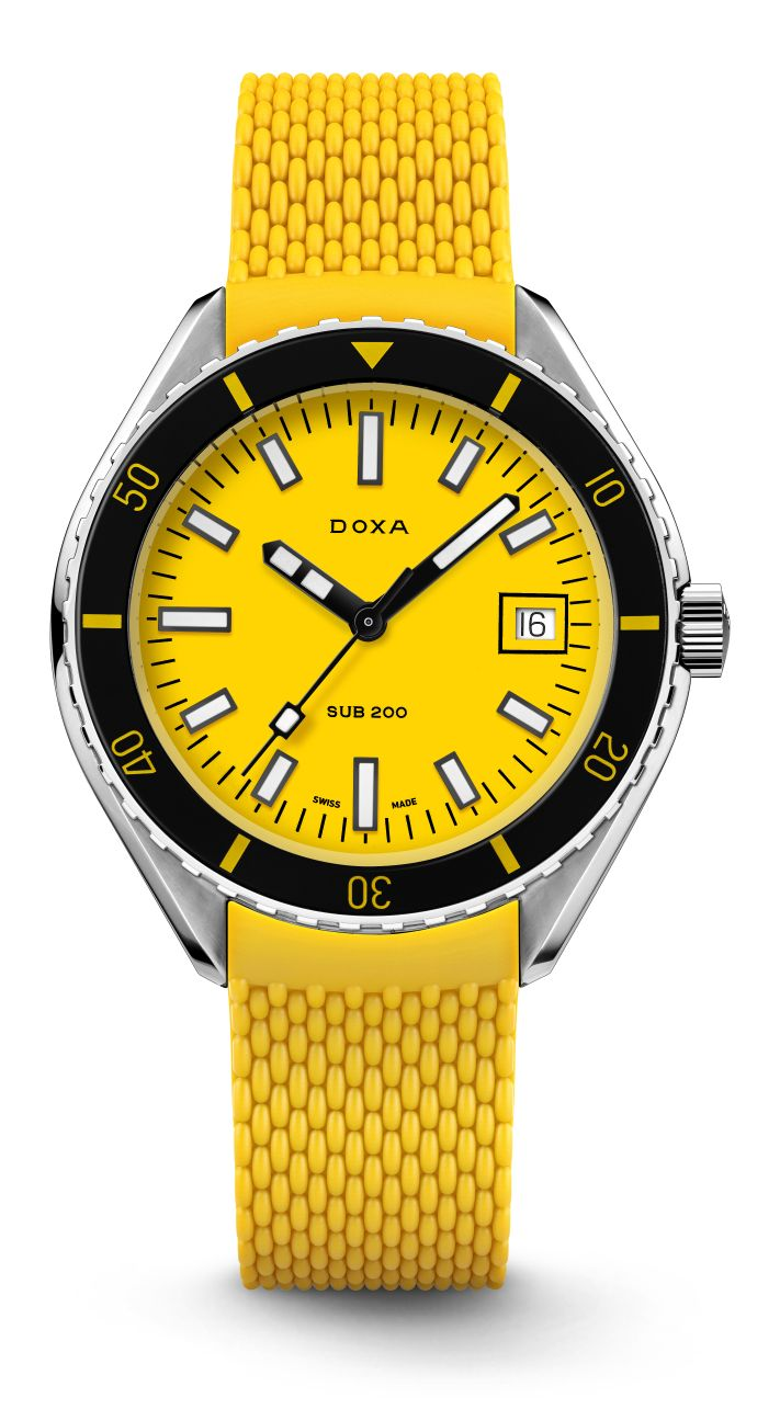 Doxa SUB 200 Colors, Doxa SUB 200 orange, Doxa SUB 200 yellow, Doxa SUB 200 navy blue, Doxa SUB 200 blue, Doxa SUB 200 silver, Doxa SUB 200 black
